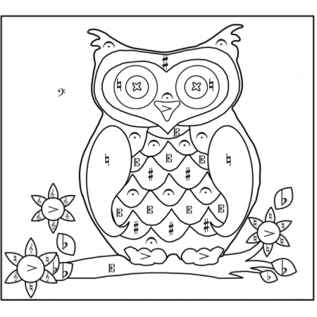 owl colour by music symbol